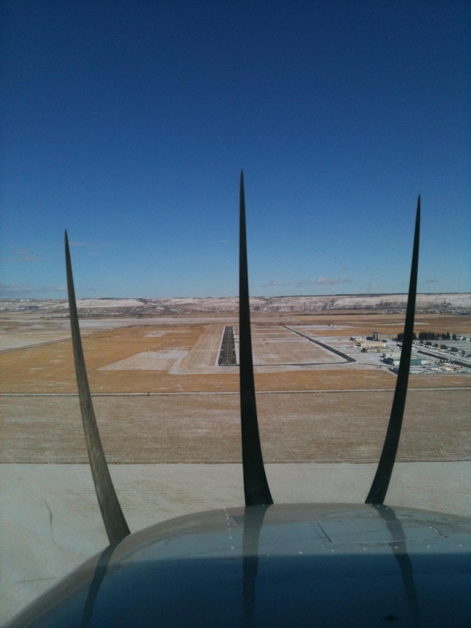 On approach for runway 34, CYBW
