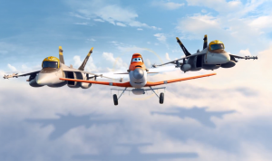 Dusty is escorted by Bravo and Echo, based on F-18s used in Top Gun. Image from the Disney website.