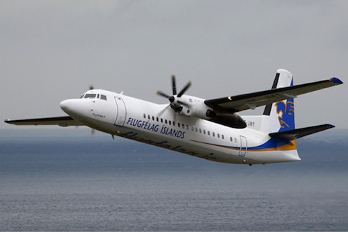 A Fokker 50 turboprop operated by Air Iceland.