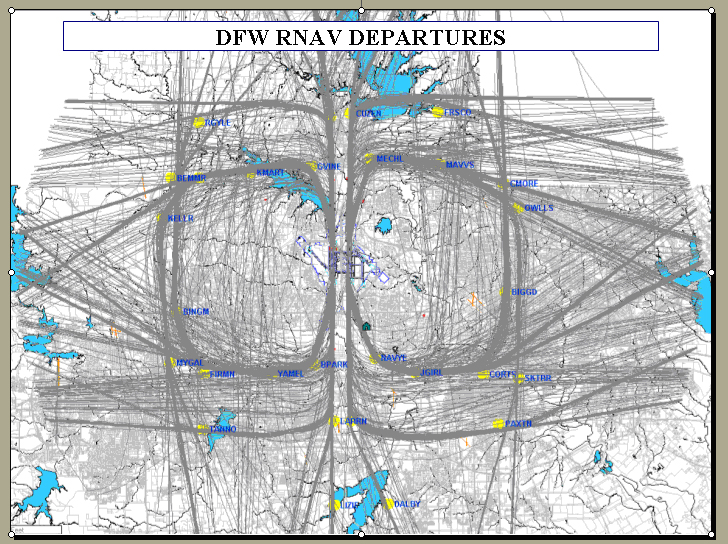RNAV departures at DFW. Image courtesy of Boeing.com
