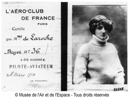 Raymonde de Laroche, first licensed female pilot.