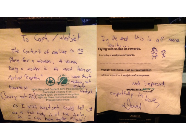 sexist pilot note on napkin westjet